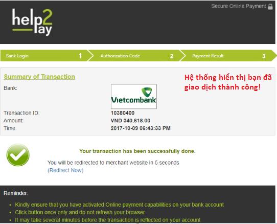 Xác nhận đã nạp tiền vào tài khoản Olymp Trade của ngân hàng VCB