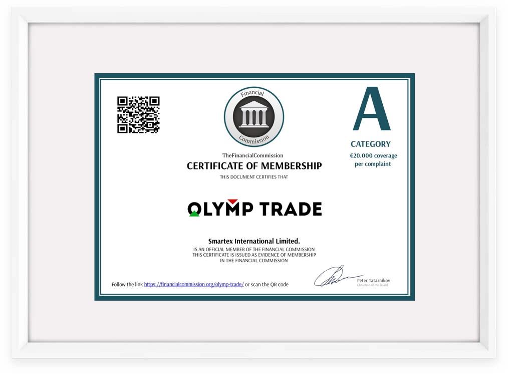 Giấy chứng nhận Olymp Trade