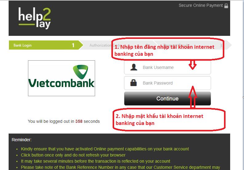 Điền các thông tin iBanking của bạn