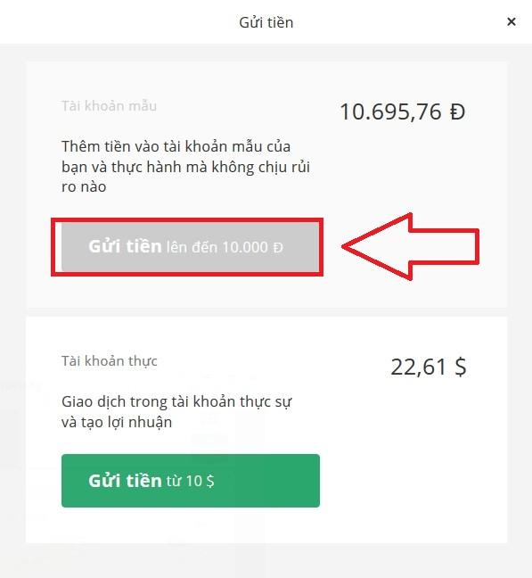 Tài khoản Demo của bạn sẽ tăng lên lại con số 10,000$