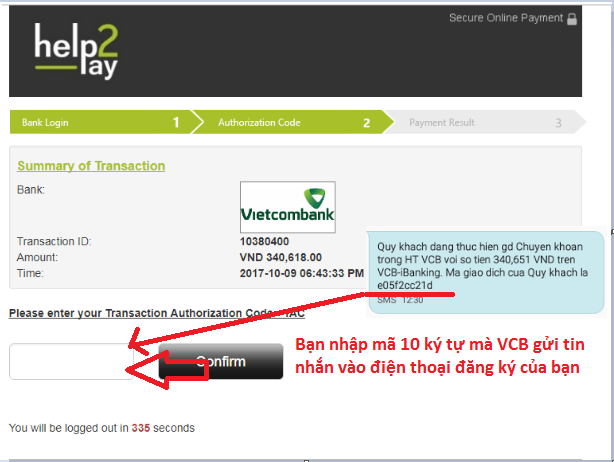 nhập mã ký tự này vào ô trống để xác nhận giao dịch chuyển khoản