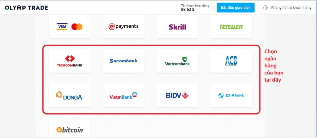 Hướng dẫn nạp tiền vào tài khoản Olymp Trade bằng internet banking tại các ngân hàng Việt Nam