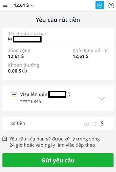Rút tiền trên ứng dụng Olymp Trade về ngân hàng Việt Nam