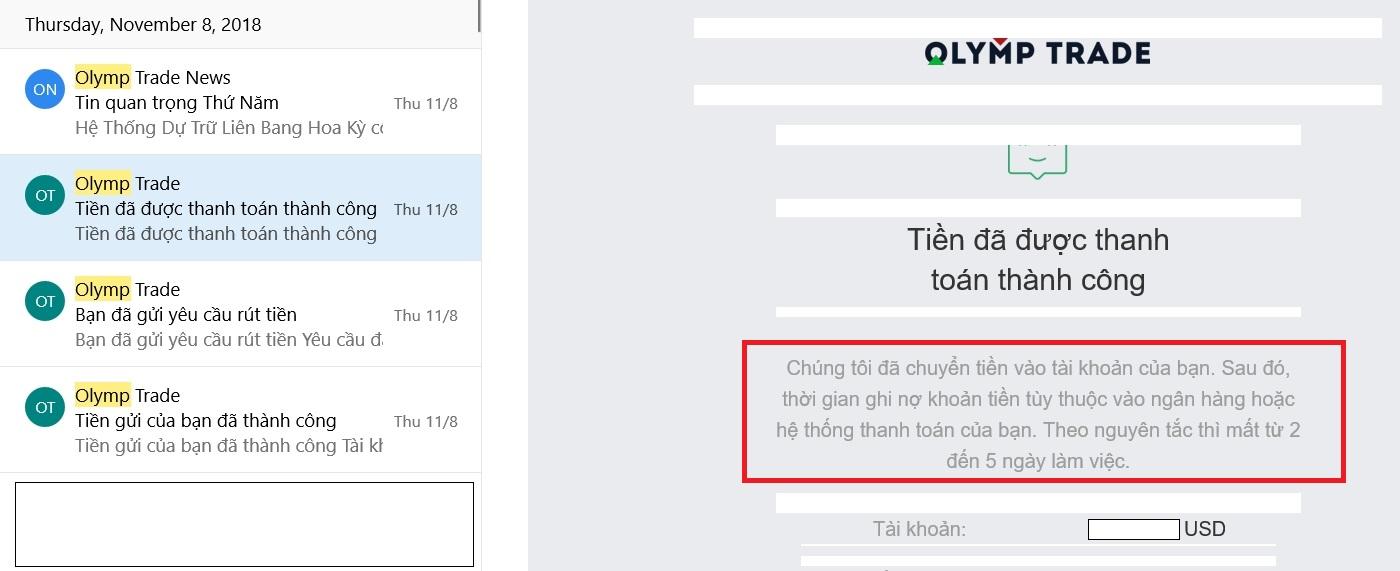 Email Olymp Trade thông báo tiền đã được thanh toán thành công