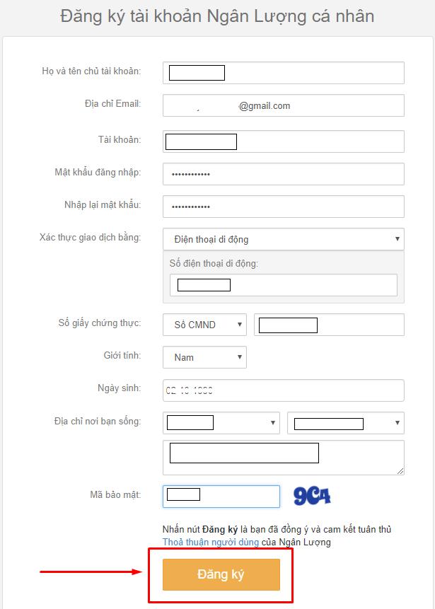 Điền đầy đủ các thông tin cần thiết vào form đăng ký