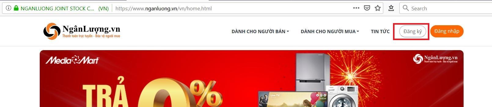 Truy cập vào trang web nganluong.vn