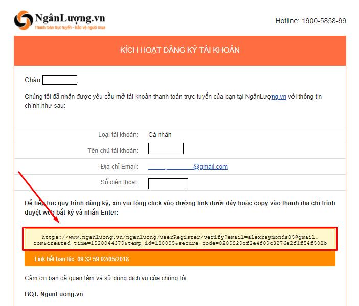 Vào email của bạn để kích hoạt tài khoản ngân lượng
