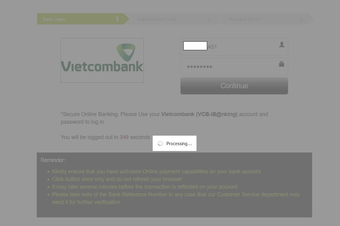 Olymp trade kết nối với Vietcombank hơi lâu