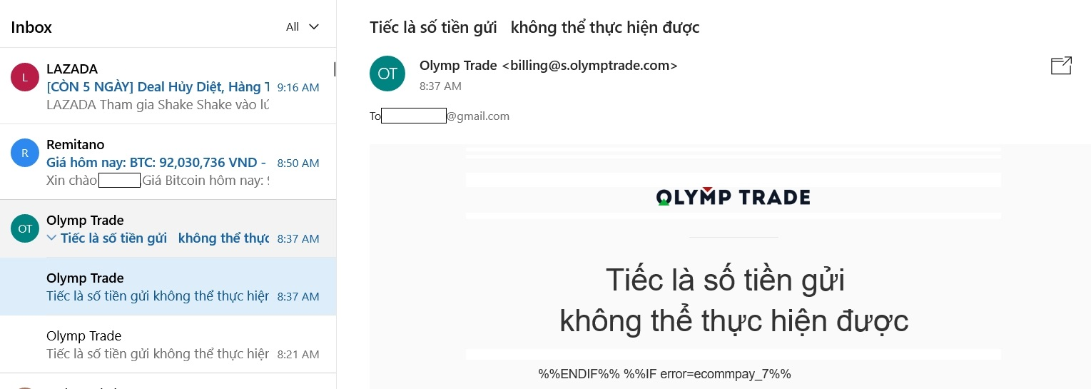 Lỗi khi nạp tiền Olymp Trade bằng thẻ Visa hoặc Mastercard