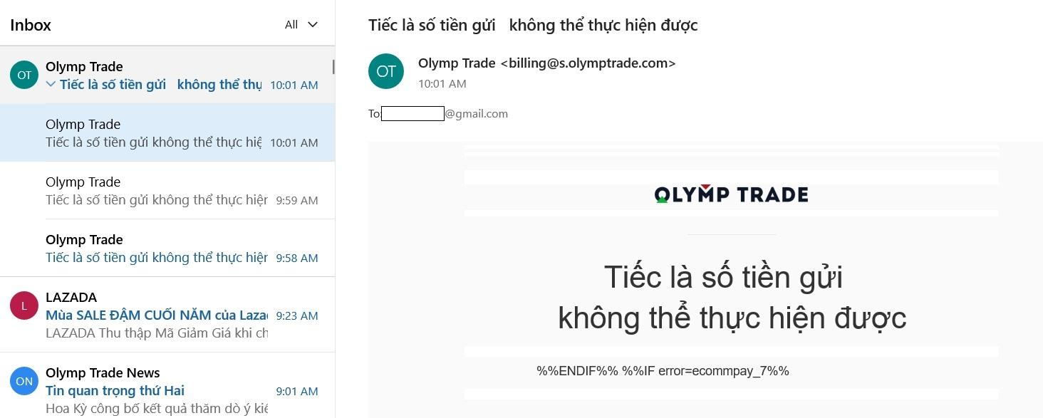 Báo lỗi hệ thống và nạp không được tiền vào tài khoản Olymp Trade