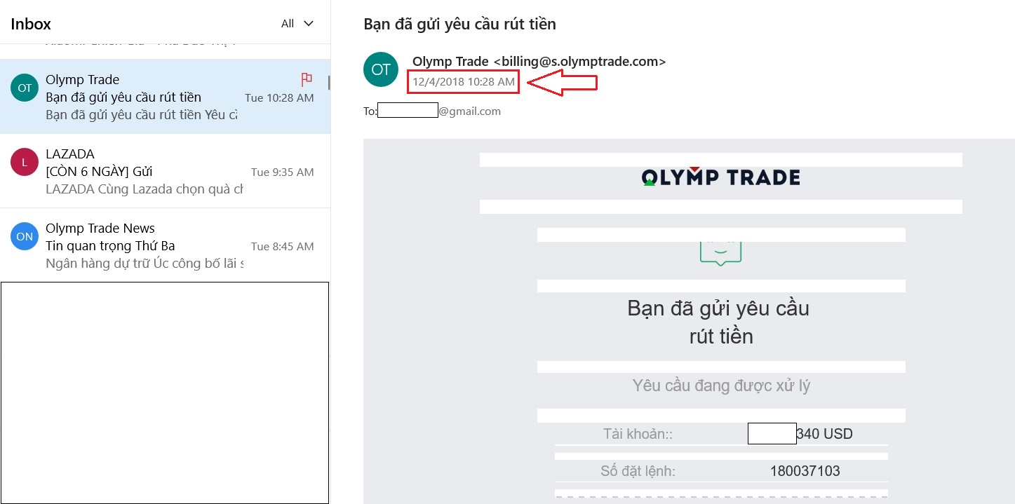 Gặp khó khăn trong vấn đề rút tiền tại Olymp Trade về tài khoản internet banking