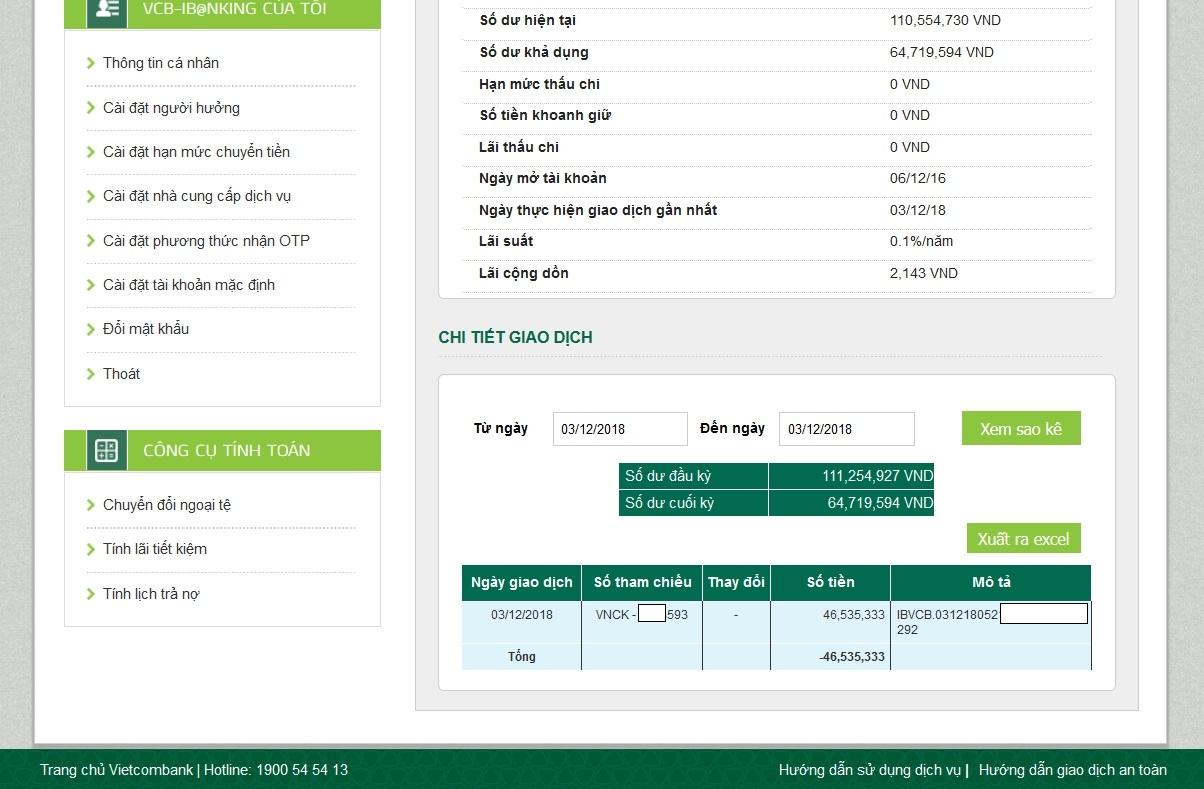 sử dụng internet banking tại ngân hàng Vietcombank để nạp tiền Olymp Trade