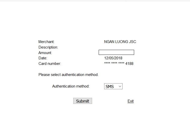 Chọn cách gửi mã bảo mật để xác nhận nạp tiền