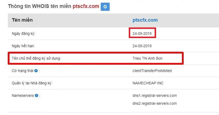 Thông tin đăng ký website ptscfx.com