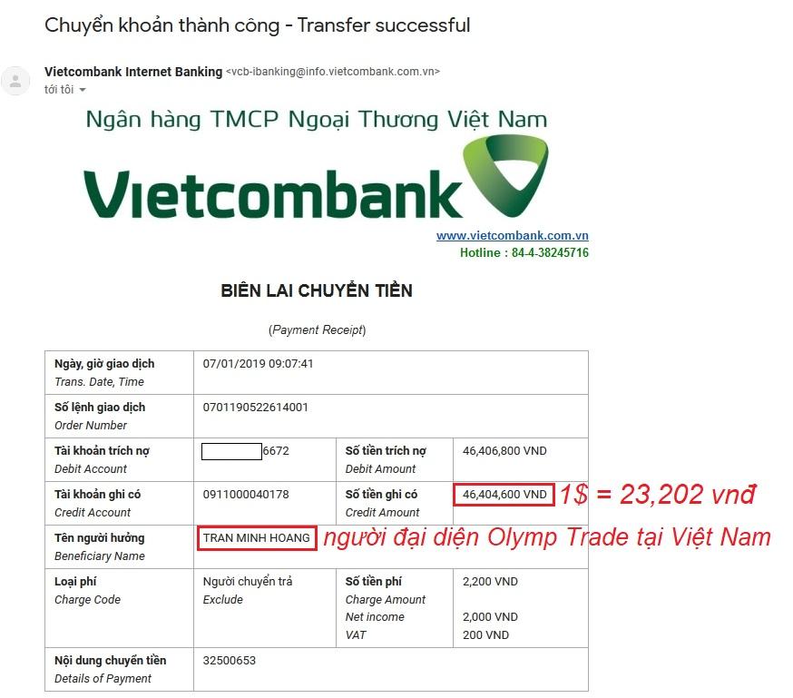 Mail thông báo nạp tiền từ Olymp Trade