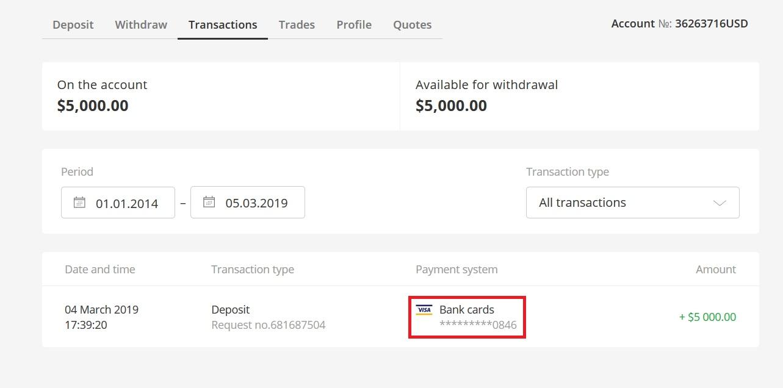 Nạp và rút tiền từ Olymp Trade bằng tài khoản VISA của Vietcombank