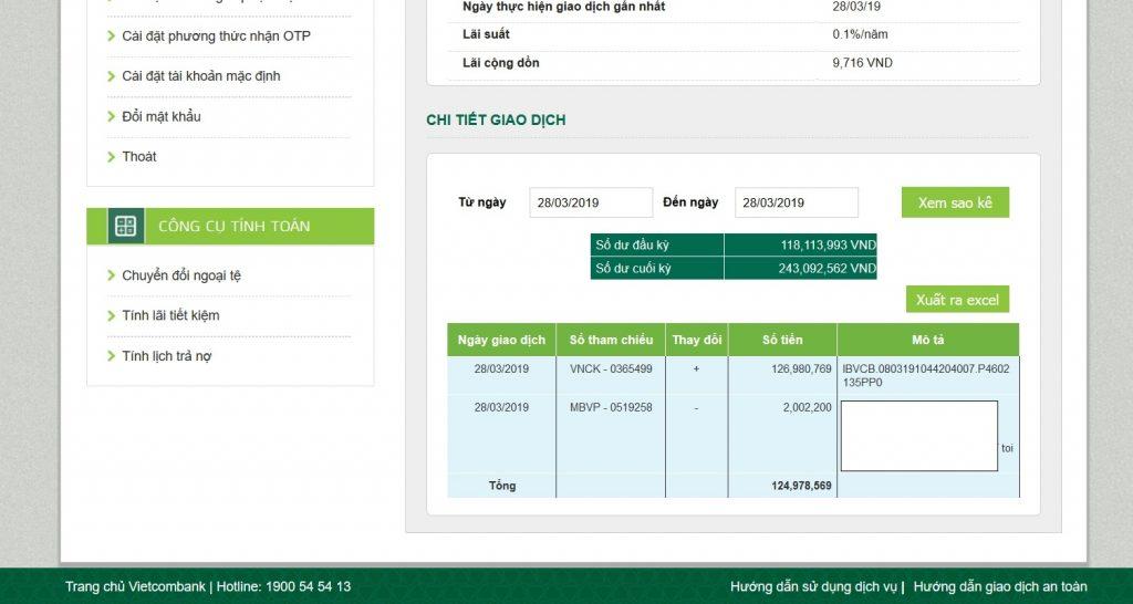 Rút tiền từ Olymp Trade về tài khoản ngân hàng VCB