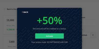 Mã khuyến mãi 50% (bonus) nạp tiền vào tài khoản Olymp Trade