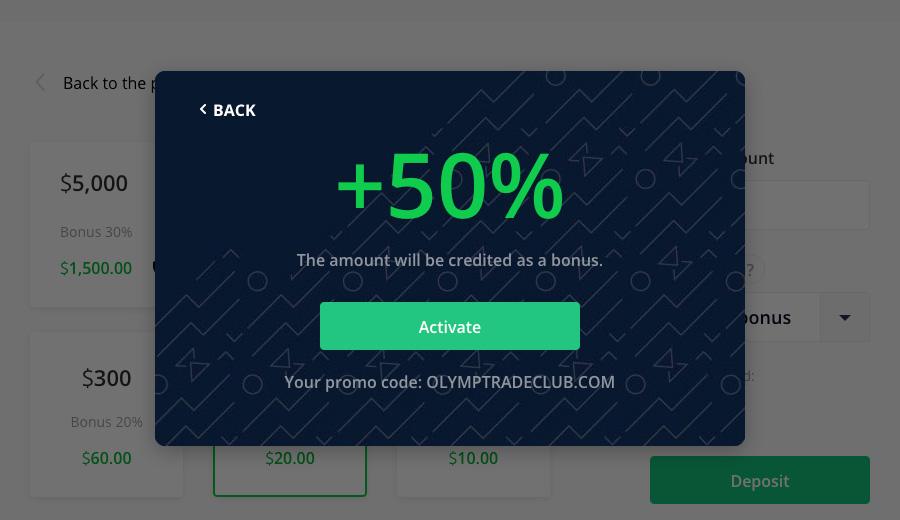 Kích hoạt Mã khuyến mãi (bonus) nạp tiền vào tài khoản Olymp Trade